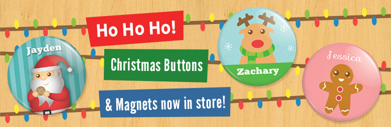 Christmas Personalised Buttons and Magnets